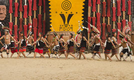 Tribal dance troupe presenting cultural dance Royalty Free Stock Photo