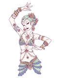 Tribal Dancer or Indian Dancer Girl in Hand Drawn Style. Stock Photos
