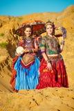 Tribal dancers. Women in ethnic costumes. Stock Image