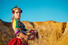 Tribal dancers. Women in ethnic costumes. Royalty Free Stock Photos