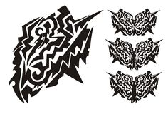 Tribal dangerous butterfly wings. Black on the white Stock Photo