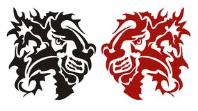 Tribal dangerous flaming lion head. Flaming red and black lion head in tattoo style Royalty Free Stock Photos