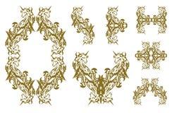 Tribal decorative golden unicorn symbols Stock Photography