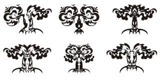 Tribal decorative tree symbols Royalty Free Stock Image