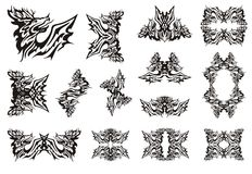 Tribal deer dragon symbols Royalty Free Stock Image