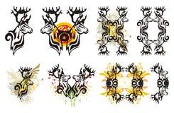 Tribal deer symbols and deer splashes Stock Image