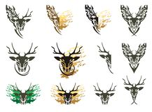 Tribal deer symbols and deer splashes Royalty Free Stock Image