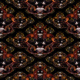 Tribal Demons Motif Seamless Pattern. Diabolic expression tribal masks motif seamless pattern design in mixed warm colors against black background Stock Photography
