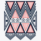 Tribal design. blue and red abstract figure.  graphic. Tribal represented by blue, red and abstract ethnic shape design, isolated and flat illustration Stock Image