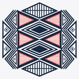 Tribal design. blue and red abstract figure.  graphic. Tribal represented by blue, red and abstract ethnic shape design, isolated and flat illustration Stock Photos