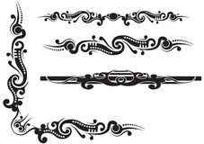 Tribal design corner floourish with dividers Royalty Free Stock Photos