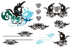 Tribal design elements:rats, fishes, hearts, frame Stock Photo