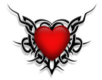 Tribal design Heart graphic tattoo. 3D Valentine illustration composition with red heart and black tribal design for card, background or tattoo graphic Stock Images
