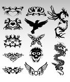 Tribal designs. Vector of different tribal designs Stock Photo