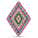 Tribal doddle rhombus isolated on the white Royalty Free Stock Images