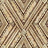 Tribal doddle rhombus seamless background. Royalty Free Stock Photography