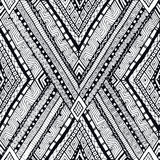 Tribal doddle rhombus seamless background. Stock Image