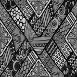 Tribal doddle rhombus seamless background. Stock Photography