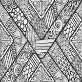 Tribal doddle rhombus seamless background. Royalty Free Stock Photos