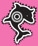 Tribal dolphin. Tribal style dolphin design pink Royalty Free Illustration
