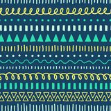 Tribal Doodles seamless vector pattern. Ethnic style background white, blue, yellow, teal. Hand drawn doodle strokes vector illustration