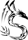 Tribal Dragon 04. Tribal Tattoo Illustration of a Winged Dragon Stock Image