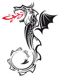 Tribal Dragon. The vector image of a mythical dragon in the form of compound contours Stock Photo
