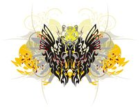Tribal dragon butterfly with splashes Royalty Free Stock Photography