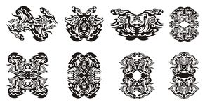 Tribal dragon frames and double dragon sings with circle Stock Images