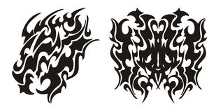 Tribal dragon head and dragon butterfly tattoo Stock Photos