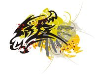 Tribal dragon head with splashes Stock Photography