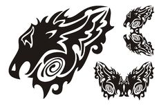 Tribal dragon head and twirled dragons symbols. Abstract decorative black dragon head in tribal style can be used as mascot or body art, ready for vinyl cutting Stock Images