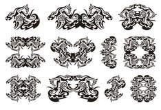 Tribal dragon symbols with circle Royalty Free Stock Photos