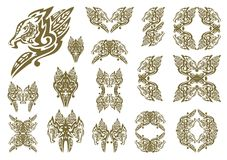 Tribal dragon symbols in leaves form Royalty Free Stock Photography