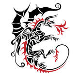 Tribal dragon. Tattoo vector illustration Royalty Free Stock Image
