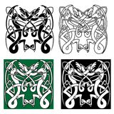 Tribal dragons with celtic knot pattern Stock Image
