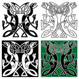 Tribal dragons ornament with celtic knot pattern Stock Images
