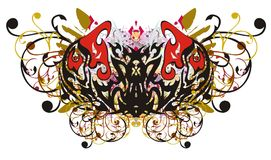 Tribal eagle butterfly floral splashes Royalty Free Stock Images