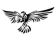 Tribal eagle tattoo. Vector illustration of eagle symbol isolated on white for tattoo design Vector Illustration