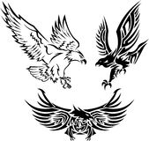 Tribal Eagle Tattoos. 3 pieces set of Eagle Tattoos in Tribal Style Royalty Free Stock Photo