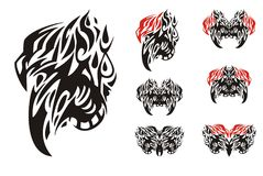 Tribal eaglle symbols in black and red tones. Ornate fantastic flaming head of an eagle and the symbols of butterflies formed from it Stock Photos