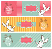Tribal egg and Easter bunny banners set Stock Images