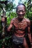 Tribal elder Toikot collecting materials fruits and plants in the jungl royalty free stock photos