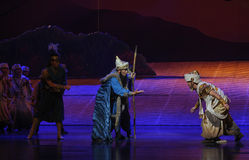 Tribal elders-Hui ballet moon over Helan Royalty Free Stock Photography