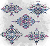 Tribal element patterns on grunge background Royalty Free Stock Images