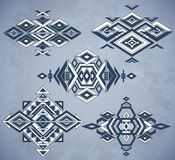 Tribal element patterns on grunge background. Royalty Free Stock Photography