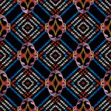 Tribal embroidery abstract seamless pattern. Vector geometric ba. Ckground. Ethnic style tapestry ornaments. Grunge rhombus, frames, stripes, shapes, figures Royalty Free Stock Photography