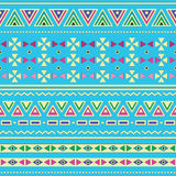 Tribal ethinc ztec seamless pattern on blue background Stock Photos