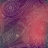Tribal ethnic background. Hand-drawn vector doodles, seamless pattern. All elements are not cropped and hidden under mask, place the pattern on canvas and Royalty Free Stock Photography