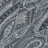 Tribal ethnic background. Hand-drawn vector doodles, seamless pattern. All elements are not cropped and hidden under mask, place the pattern on canvas and Royalty Free Stock Image
